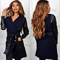 Кашемировое пальто с кожаными вставками