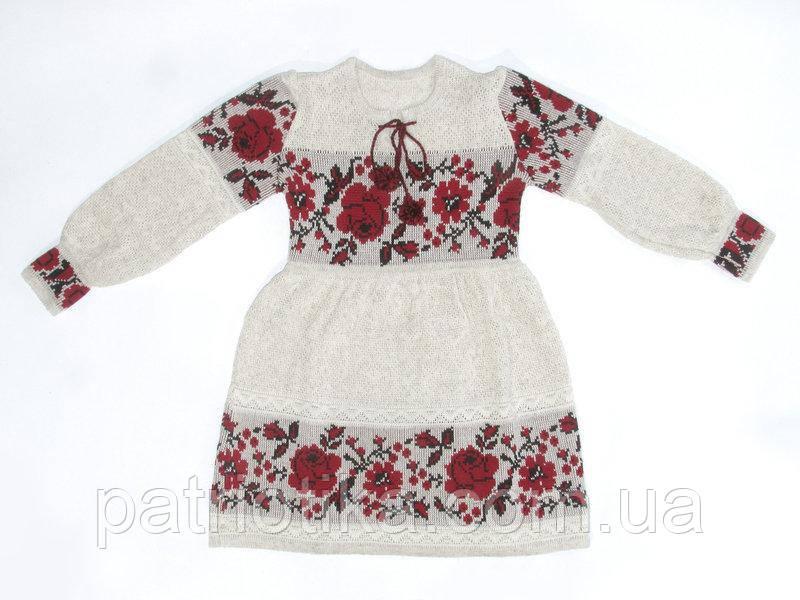 Платье для девочки Роза красная с бутоном   Плаття для дівчинки Троянда червона з бутоном