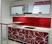 Распродажа мебели для кухни из стекла с рисунком «Цветочная Фантазия» с мобильной барной стойкойс экспозиции