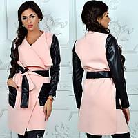 Кашемировое пальто с вставками кожаными