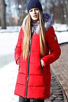 Зимняя женская куртка с эко-мехом чернобурки Арнелла