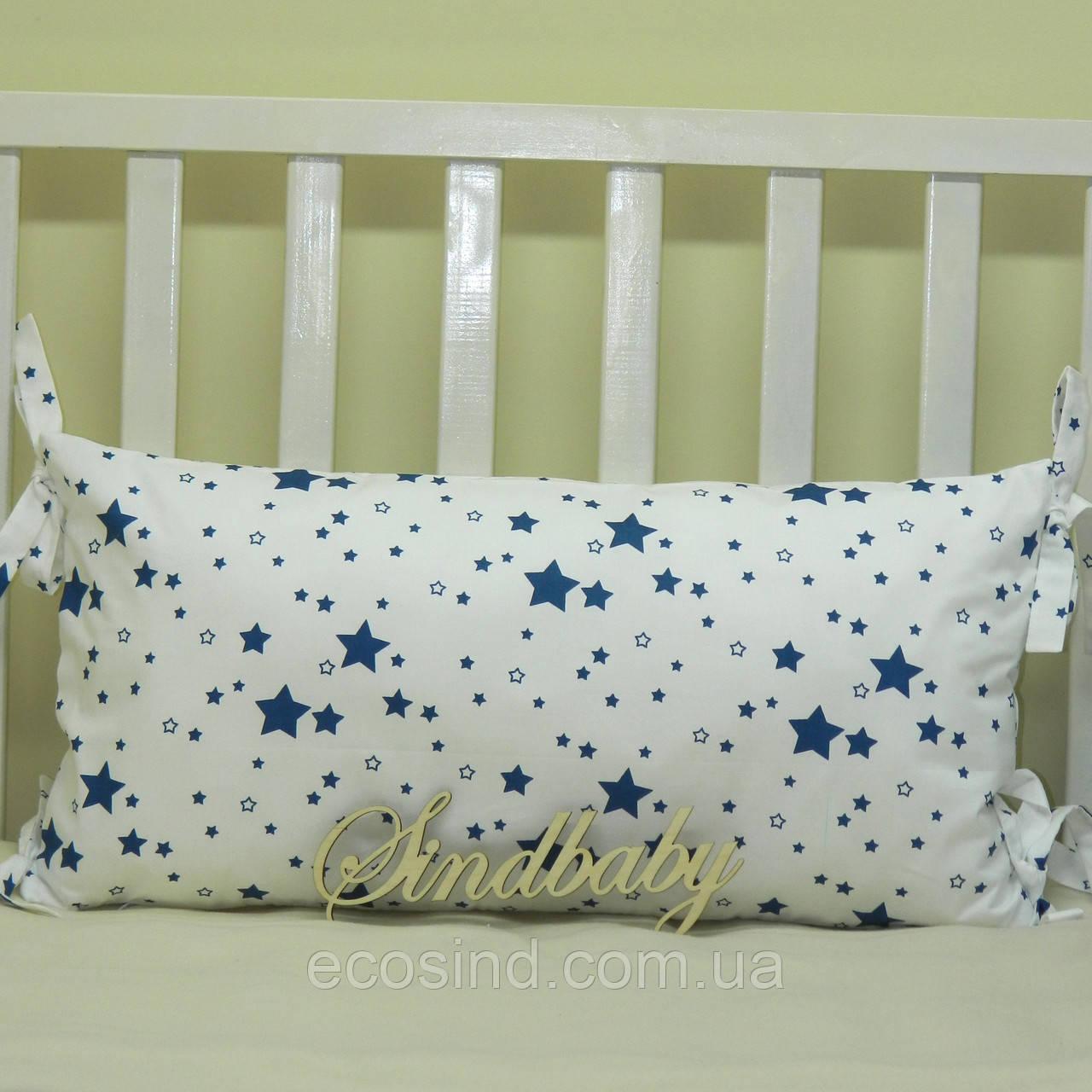 Бортики подушки в кроватку, Подушка сатин 30х60 -01
