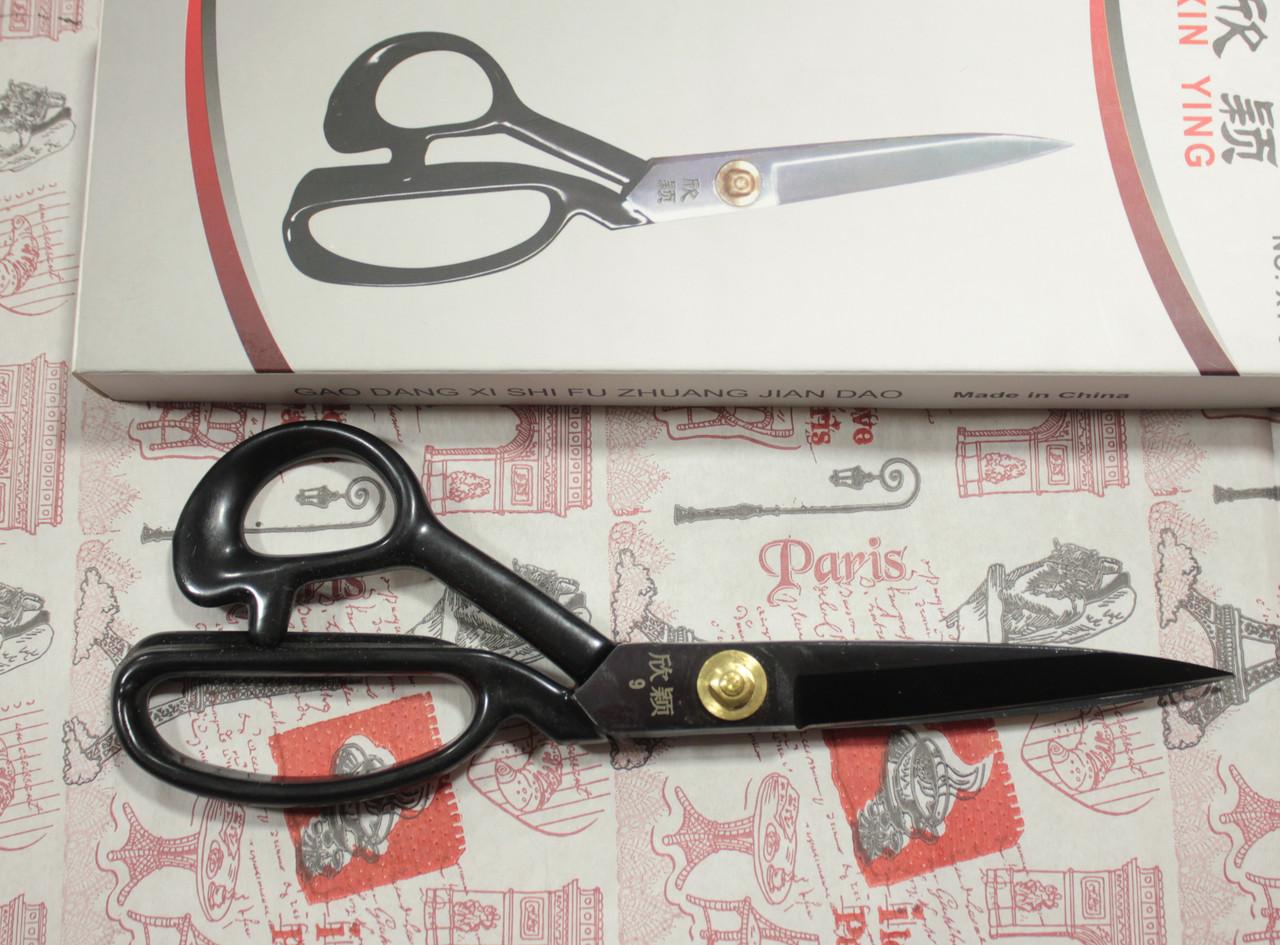 """Ножницы черные с прорезиненной ручкой Xin Ying 9"""""""