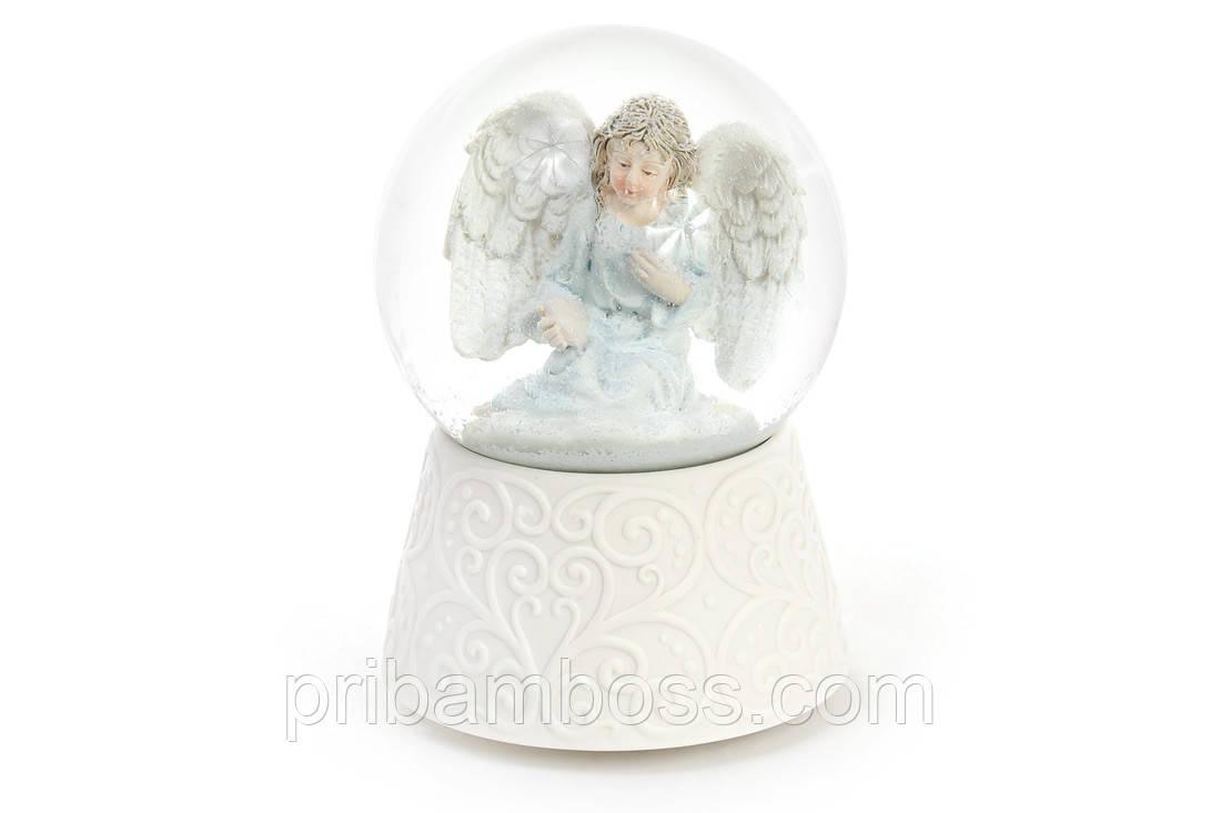Декоративний водяна куля 14.8 см Ангел з різдвяною музикою на заводном механізмі