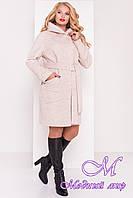 Женское батальное осеннее пальто с капюшоном (р. XL, XXL, XXXL) арт. Анита донна 17743