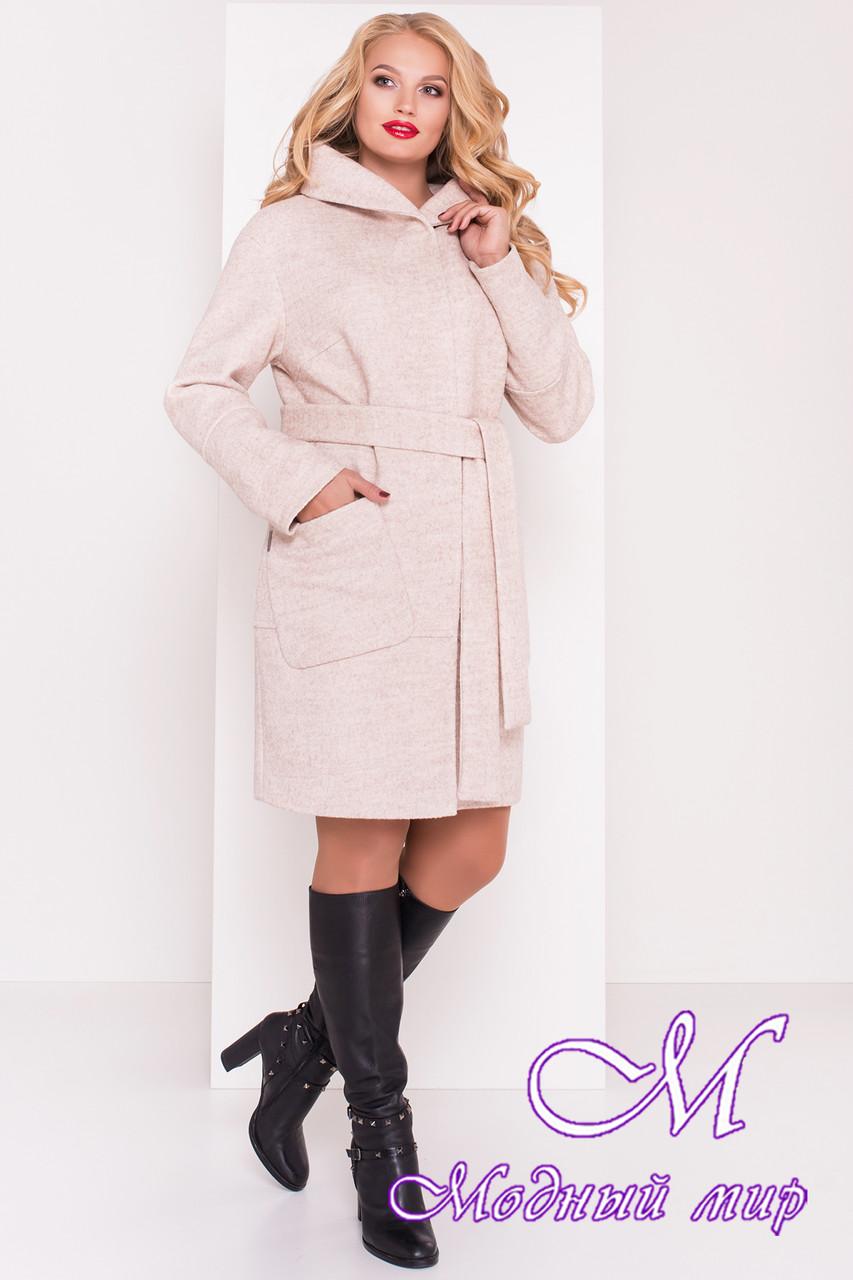 Женское батальное осеннее пальто с капюшоном (р. XL, XXL, XXXL) арт. Анита донна 3467 - 17743
