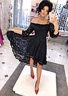 Платье нарядное Ткань: кружево на подкладке черный, красный, электрик, марсала, белый, персик дпог №177-25