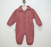 Комбинезон - человечек вязанный для девочки  на махре бордовый