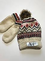 Детский вязаный набор на флисе шапка, варежки, Lupilu на девочку 4-8 лет
