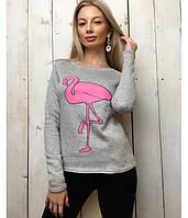 Теплый удобный батник фламинго