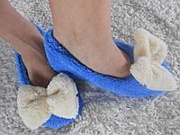 Домашние женские голубые махровые тапочки-балетки с бантиком. Арт-4839