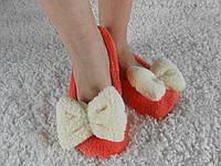 Домашние женские оранжевые махровые тапочки-балетки с бантиком. Арт-4839