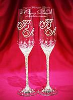 Свадебные бокалы с 2мя инициалами в стразах (Тюльпаны)