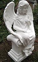 Скульптура Ангела сидящего на колоне 50 см бетон №8