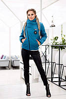 Женская куртка косуха на синтепоне голубая