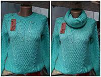 Красивая женская вязанная ажурная кофточка со стразами 46-48, наличие цветов уточняйте