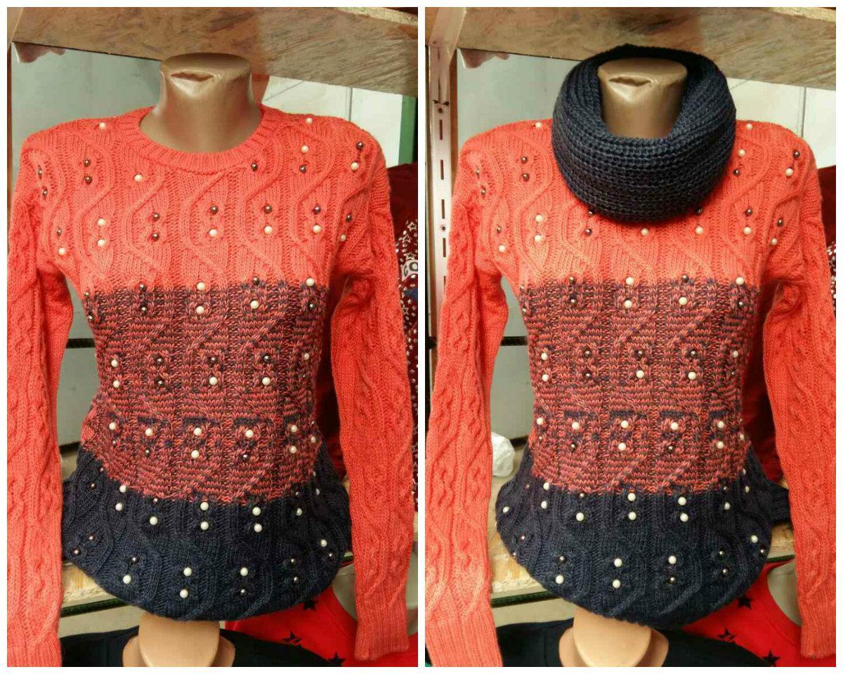 Красивая женская вязанная ажурная кофта-трансформер с хомутом 46-48, наличие цветов уточняйте