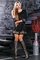 Красивое замшевое платье с юбкой клеш и вышивкой 42-48 размера