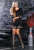 Красиве замшеве сукня з спідницею кльош і вишивкою 42-48 розміру, фото 1