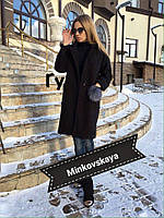 Пальто женское (кашемир+подкладка) мод.210 пушок в наборе