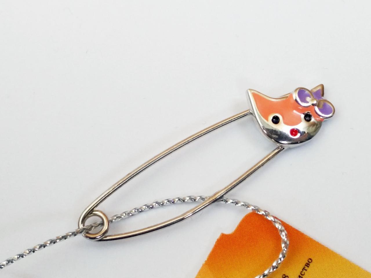 Серебряная брошь булавка Котик