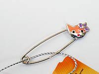 Серебряная брошь булавка Котик, фото 1