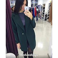 Пальто женское кашемировое прямое Личия 3 зеленое