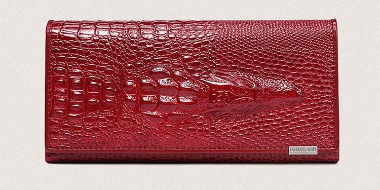 Кожаный женский кошелек - Aligator красный