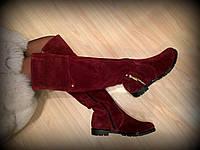 """Ботфорты цвет марсала """"Виши"""" натуральная замша (любой сезон,цвет,обем голени) код 2161/1, фото 1"""