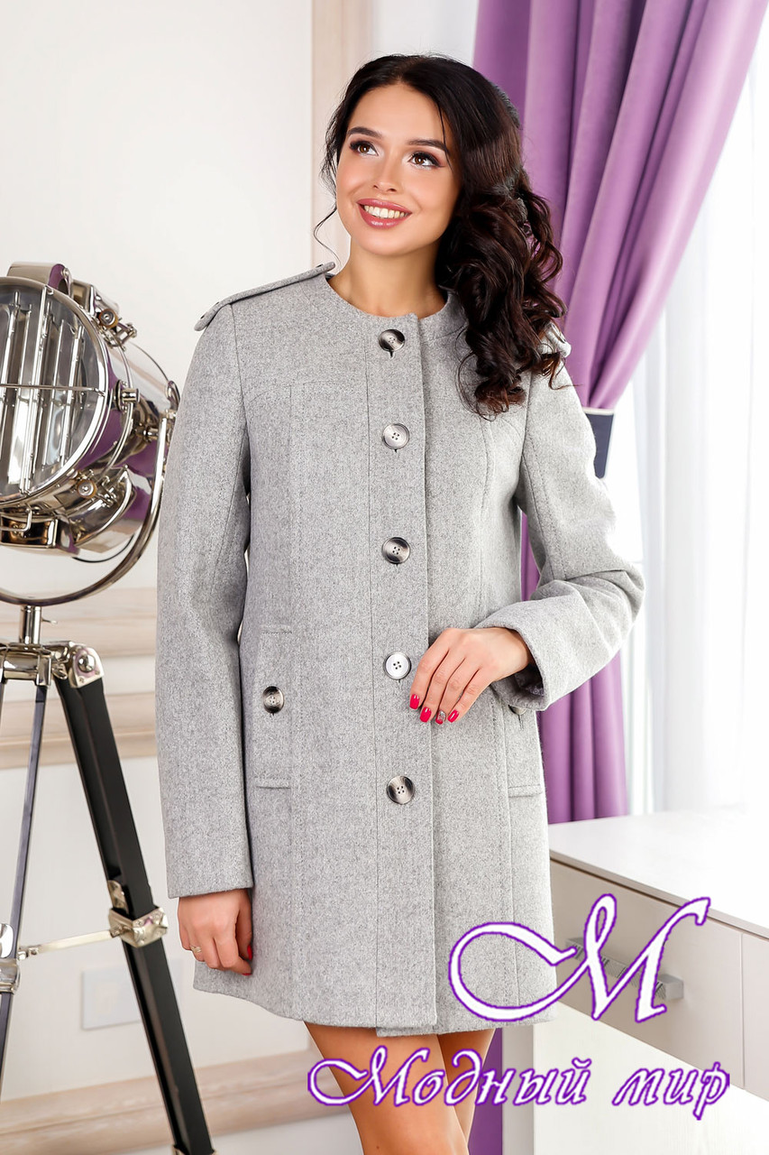 Красиве жіноче осіннє пальто (р. 44-54) арт. 1013 Тон 4 сірий