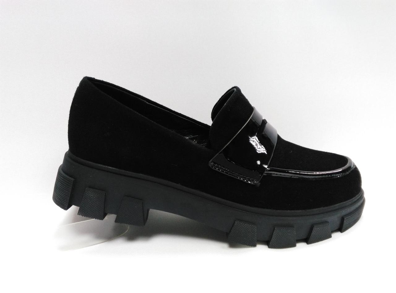 Черные замшевые туфли Еrisses. Маленькие размеры (33 - 35).