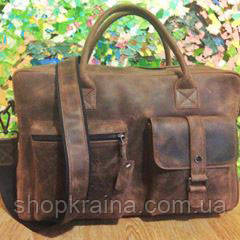 Кожаная сумка VS75  Crazy horse brown 40х26х10 см