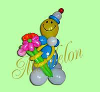 Клоун из шариков Дима с цветами