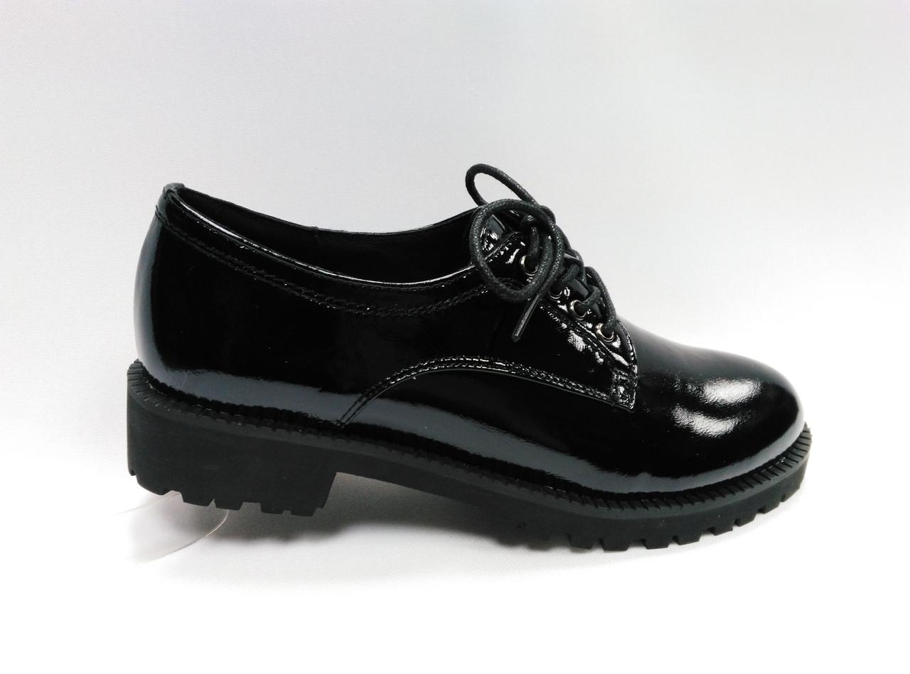 Туфли кожаные ERISSES  со шнурками. Маленькие размеры ( 33 - 35 ).