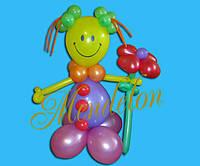 Клоун девочка из шариков Соня с цветочком