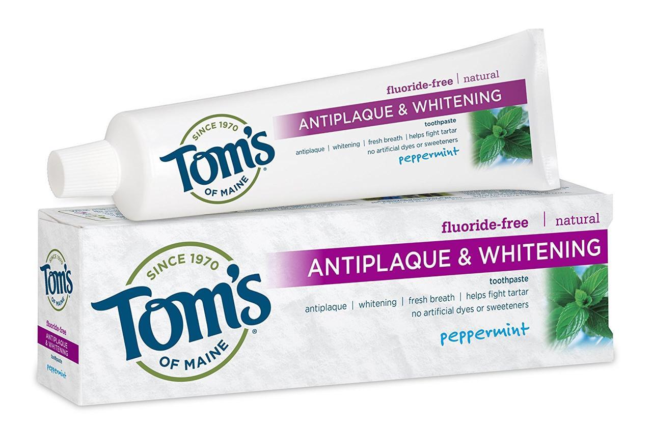 """Зубная паста для удаления налета и отбеливания зубов без фтора """"Перечная мята"""" Tom's of Maine"""