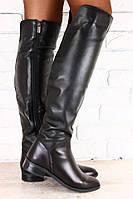 Высокие кожаные женские сапоги. Деми сезон/евро зима