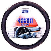 Чехол руля Vitol M 37-39см чёрн/кож.зам. C080222BK M