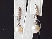 Серебряные серьги с жемчугом и фианитами. Артикул 902-00734-10, фото 1