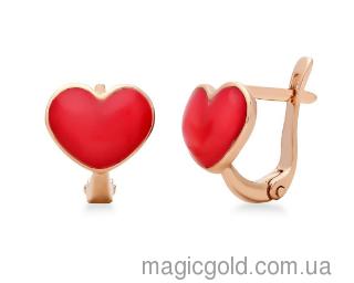 Золотые детские серьги Красные сердечки