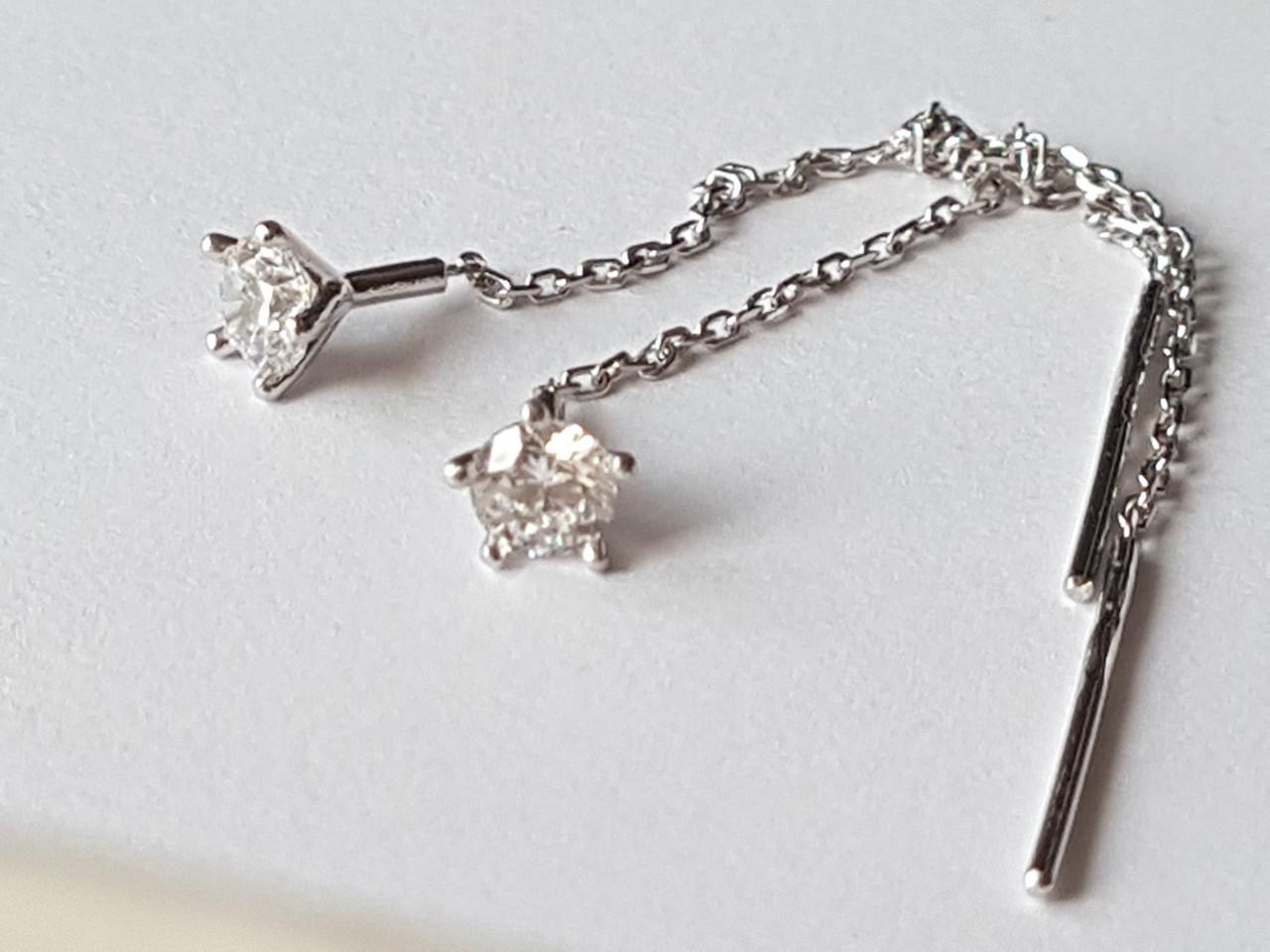 Срібні сережки-протяжки з фіанітами. Артикул 902-01056