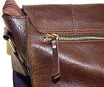 Кожаная сумка VS78 brown smooth 33х28х9 см, фото 4
