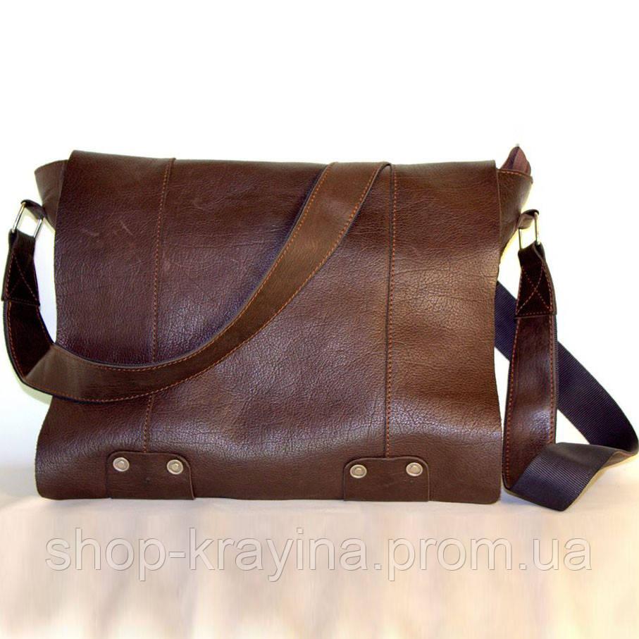 Кожаная сумка VS78 brown smooth 33х28х9 см