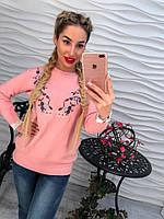 Красивый розовый свитер с вышивкой, фото 1