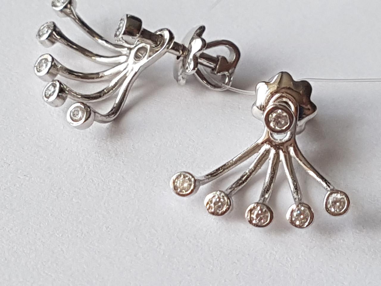 Серебряные пуссеты с фианитами. Артикул 902-00982