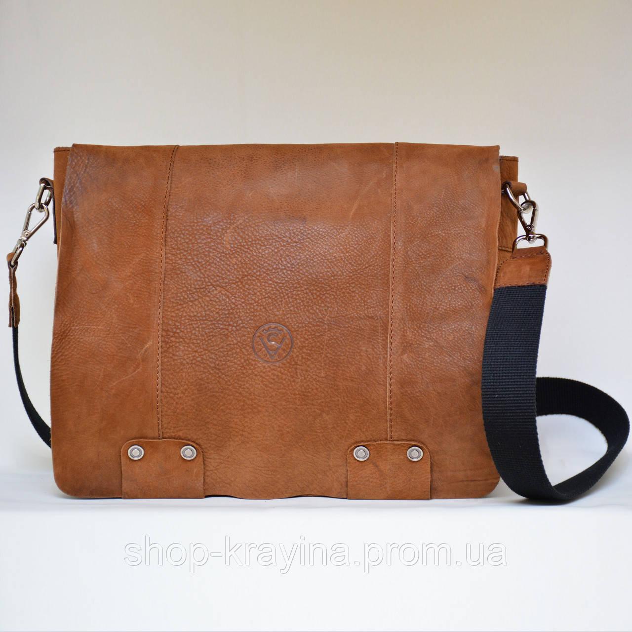 Кожаная сумка VS78 ginger 33х28х9 см