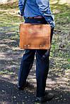 Кожаная сумка VS78 ginger 33х28х9 см, фото 7