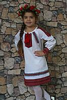 """Вышитое платье для девочки """" Українка""""  размера 92, 94, 104, 110 белого цвета с вышивкой  в этническом стиле"""