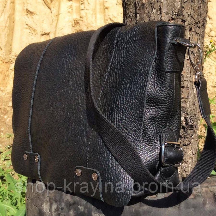 Кожаная сумка VS78 black 33х28х9 см