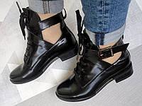 Ботинки женские высокие кожаные черные с вырезами